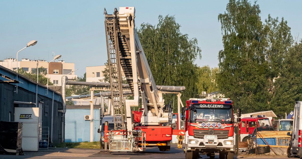 Poznań: Pożar hali na terenie dawnych zakładów ZNTK