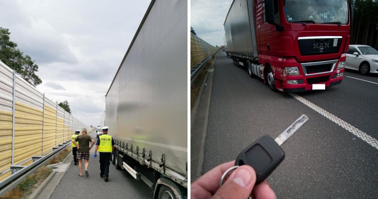 Kierowca ciężarówki był pijany. Ujęcie obywatelskie na A2